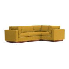 Taylor Plush 4-Piece Modular L-Sectional Sofa, Mustard