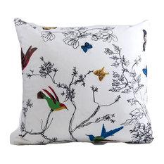 Schumacher birds and butterflies pillow cover, designer pillow cover, 20x20