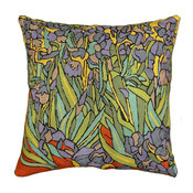 """Irises Inspired Van Gogh Throw Pillow Cover Hand Embroidered Wool 18x18"""""""