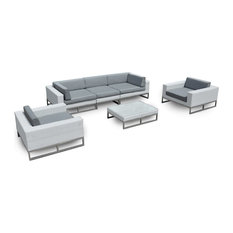 MangoHome - Outdoor Patio Furniture 6 Piece Weather-Wicker Sofa Sectional Set - Outdoor Lounge Sets
