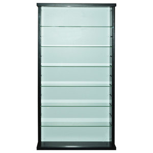 Exhibit Solid Wood 6-Shelf Glass Display Cabinet, Black