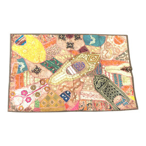 Mogulinterior - Indian Embroidered Beige Tapestry Wall Hanging Patchwork Sari - Tapestries