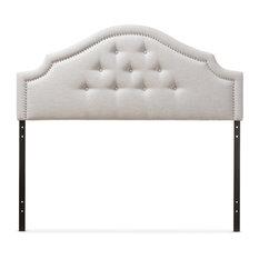 Cora Fabric Upholstered Headboard, Grayish Beige, Full