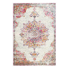 Sunny Wildflower Medallion Area Rug, Pink, 3'x5'