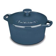 Chefs Classic Enameled Cast Iron 3-Quart Round Covered Casserole, Provencal Blue