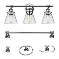 Chrome bathroom vanity lights for your home houzz 1st avenue finch 5 piece bathroom light and bar set chrome bathroom aloadofball Image collections