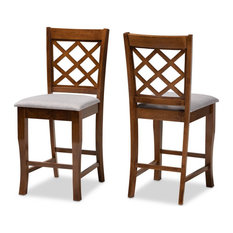 Baxton Studio Aria Gray Upholstered Walnut Wood 2-Piece Pub Chair Set