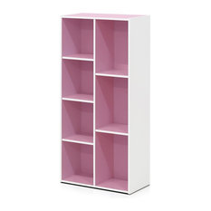 Contemporary Bookcase, Engineered Particle Board, Seven Open Shelves, White/Pink