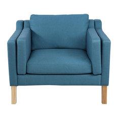 Monroe Midcentury Modern Vintage Chair, Twill, Urban Surf