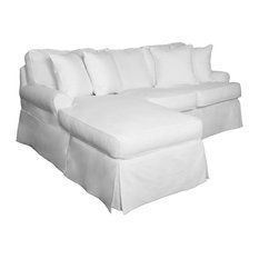 12-Pc Slipcovered Sleeper Sofa and Chaise Set in White Finish