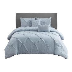 Wonder Home Hampton 5-Piece Microfiber Pleated Comforter Set, Queen, Light Blue