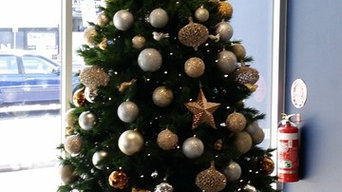 Decorated Christmas trees on site