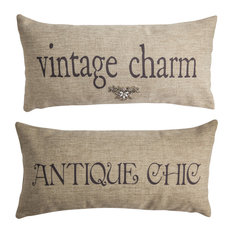 Vintage Charm/Antique Style Indoor OutdoorDouble Sided Pillow With Pin