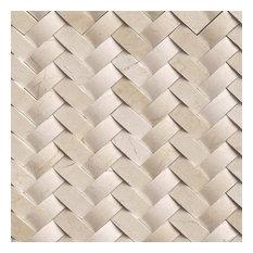 Crema Herringbone Arched Pattern, Polished, Marble,