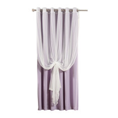 Wide Width Tulle Sheer Lace Blackout 2-Piece Curtain Set, Lavender