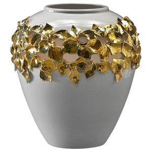 Ceramic Vase With 24K Gold Petal Design, Large