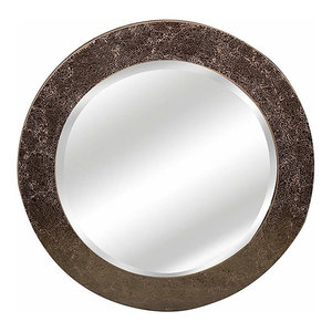 Modern Round Wall Mounted Mirror, Mosaic Glass Frame and Beveled Edge, Amber