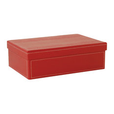 Red Paper Box With Lid and White Stitching