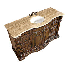 "60"" Single Sink Bathroom Vanity With Choice of Top, Travertine Counter Top"