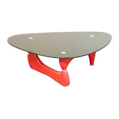 Fab Glass And Mirror Noguchi Style Coffee Table With Tempered Glass Top Red