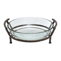 Clear Glass and Metal Modern Serving Stand, 7x19x16