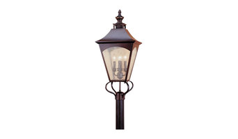 Feiss Homestead Four Light Oil Rubbed Bronze Thick Clear Seeded Glass Post Light
