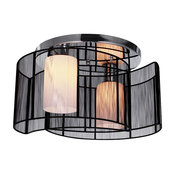 Modern 2-Light Glass Semi Flush Mount With Black Shade