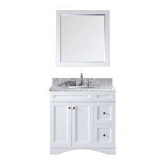 Virtu Elise 36-inch Single Bathroom Vanity White With Marble Top With Mirror