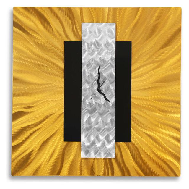 Gold, Silver and Black Metal Wall Clock Modern Home Decor Art by Jon ...