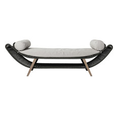 Reverie Bench, Dark Gray Cord and Weathered Eucalyptus