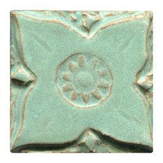 "Medieval Floral Tiles, 3""x3"", Copper Patina"