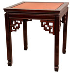 Oriental Furniture - Rosewood Square Ming Table, Two-tone - Classic Chinese Ming table, full of decorative possibilities. With a distinctive two-tone honey and cherry stain finish, these tables make unique low accent tables, or elegant alternative coffee tables when displayed in pairs. Hand crafted from solid kiln dried Rosewood, with authentic Ming design floating panel construction to tolerate changes in moisture content.