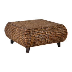 Gallerie Decor   Bali Breeze Low Square Accent Table, Gold Patina   Coffee  Tables