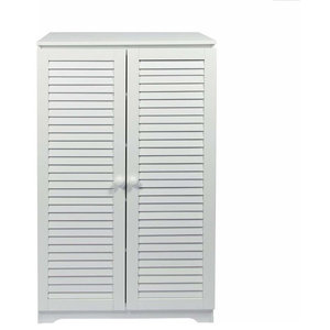 Free Standing Storage Cabinet, White Painted MDF With 2-Door and Inner Shelf