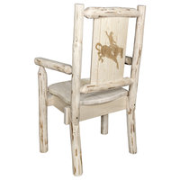 Montana Captain's Chair With Laser Engraved Bronc Design, Clear Lacquer Finish,