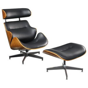 Contemporary Herne Chair Ottoman Set With Black And Walnut Finish 59461