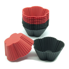 Freshware 12-Pack Silicone Mini Cherry Blossom Baking Cup, Black and Red