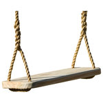 """Wood Tree Swings - Wood Tree Swing 12' Rope Per Side, Free Hanging Kit - This is a handcrafted Wood Tree Swing 24 Inches long by 9 1/4 inches wide and 1 1/2 inches thick. This Wood Tree Swing is made of yellow pine and the corners and edges have been rounded and sanded. The Wood Tree Swing rope has been hand spliced at bottom, comes with 12 feet of 5/8"""" Polypropylene rope per side. The rope is made with a special 100% Polypropylene film yarn that will never get rough or splintery-like. Instead, the more it is used the softer it is on your hands. It is treated with UV which protects it from the sun and it is 100% waterproof. The breaking strength is 3780 lbs. We include two rope clamps to fasten rope with, no tying of knots. Free 36 inch hanging kit with safer Screw Lock Snap Hooks."""