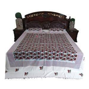 Mogul Interior - Indian Bed Cover Floral Printed 100% Handloom Cotton Bedspread KING Size - Quilts And Quilt Sets