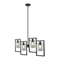 Utila 4-Light Chandelier with Open Frames, Black Finish