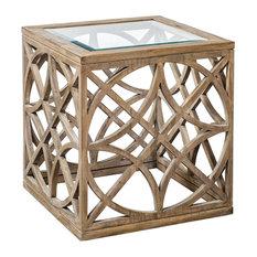 Open Geometric Cage Fretwork Accent Table | Light Wood Cube Square Diamond