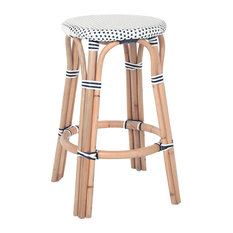 Bistro Backless Rattan Stool, White and Blue, Counter Stool
