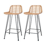 Rattan Bali Bar Stools, Natural, Set of 2