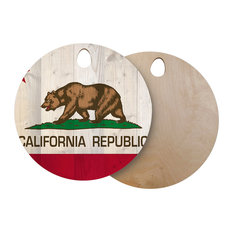 """Bruce Stanfield """"California Flag Wood"""" Brown Wooden Cutting Board, Circle"""