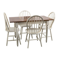 GDF Studio 5-Piece Gates Spindle Wood Dining With Leaf Extension Set