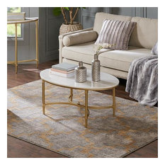 Madison Park Signature Bordeaux Coffee Table In White/Gold Finish MPS120-0123