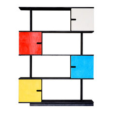 PIX Modular Shelving Unit, Dark Grey and Multicoloured, 4 Cupboards