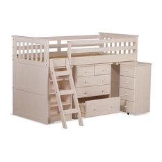 Mid Sleeper Bed With Desk, Drawers and Bookcase, Whitewash, Single