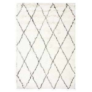 Hand Made Geometric Moroccan Wool Shag Rug, Ivory, 8'x10'