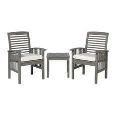 3-Piece Classic Outdoor Patio Chat Set, Gray Wash